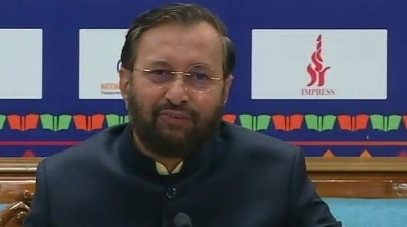 Javadekar said, 'It was a scam of Rs 40,000 crore, in which, 20,000 people were looted through a chit fund firm. Gradually, the investigation by the CBI is unearthing the names of the culprits indulged in the scam'. (Photo: ANI)