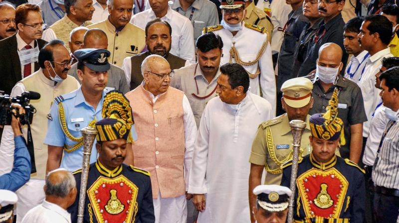 Madhya Pradesh governor Lalji Tandon and chief minister Kamal Nath arrive for the budget session of the state Assembly in Bhopal on March 16, 2020. (PTI)
