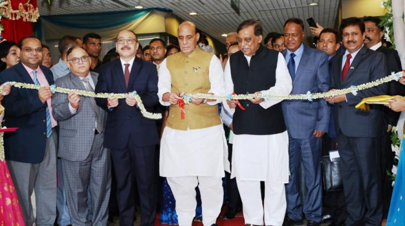 Visiting Home Minister Rajnath Singh, who is here on a three-day visit inaugurated the centre along with his Bangladeshi counterpart Asaduzzaman Khan. (Photo: @rajnathsingh/Twitter)