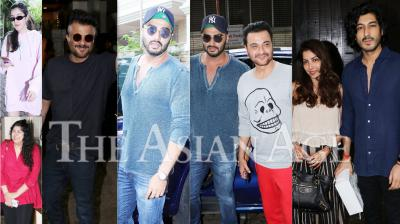 On Sunday evening, Arjun Kapoor, Shanaya Kapoor, Anshula Kapoor, Sanjay Kapoor, Mohit Marwah and other family member gather at Anil Kapoor's house in Juhu to spend some time together. (Photos: Viral Bhayani)