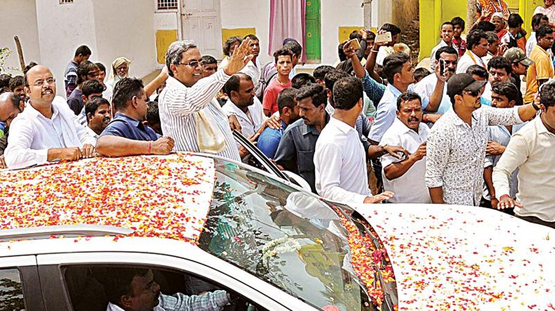 Karnataka Chief Minister Siddaramaiah campaigns on Monday.