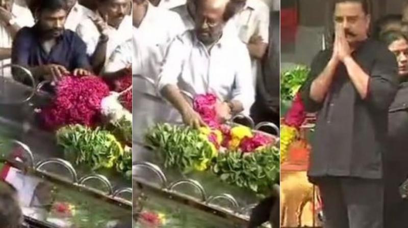 Dhanush, Rajinikanth and Kamal Haasan meet M Karunanidhi one final time. (Photos: ANI)