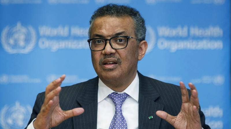 Tedros Adhanom Ghebreyesus, Director General of the World Health Organization speaks during a news conference on updates regarding COVID-19, at the WHO headquarters in Geneva, Switzerland. (AFP)