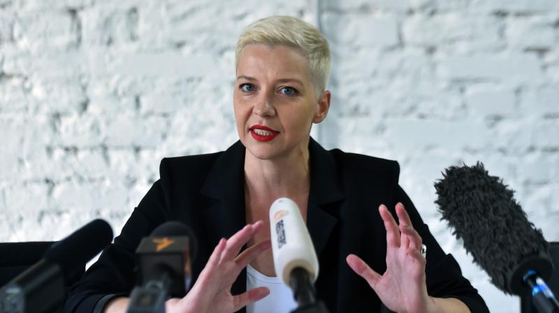 Maria Kolesnikova, an ally of Svetlana Tikhanovskaya, holds a press conference in Minsk. - Unidentified men in black on September 7, 2020 morning grabbed Maria Kolesnikova, a leading Belarusian opposition figure, and pushed her into a minibus, her campaign team reported, citing witnesses. (AFP)