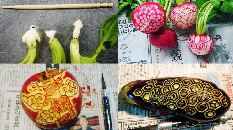 Artist Gaku carves designs out of food with precision and detail through 16th century Japanese art Mukimono. (Photo: Instagram/Gaku)