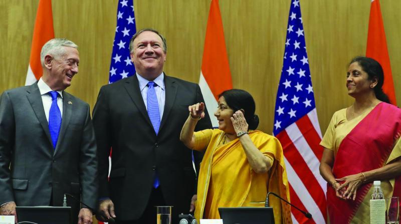 US defence secretary James Mattis, US secretary of state Mike Pompeo, external affairs minister Sushma Swaraj and defence minister Nirmala Sitharaman in New Delhi on Thursday. (Photo: AP)