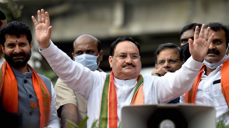 On completing one year in office, Nadda thanked the party's cadre for their dedication and hard work during the Covid-19 lockdown and assisting people in hostile situations, including in Opposition-ruled states like West Bengal and Kerala. (Photo:PTI)