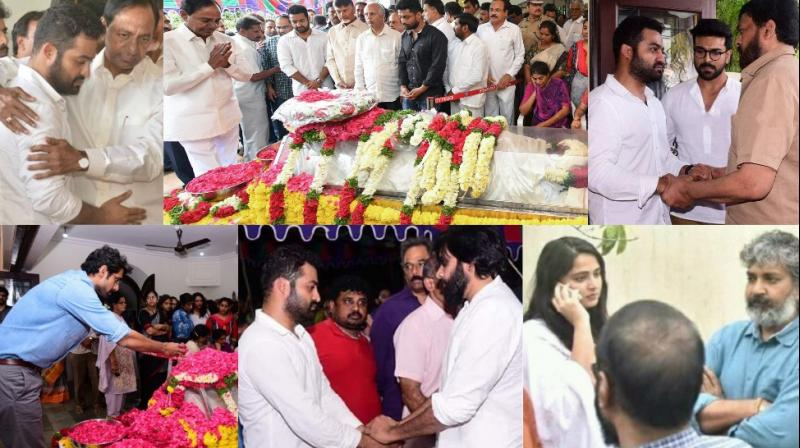 Pictures at late Nandamuri Harikrishna's residence on Wednesday.