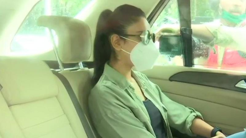 Actress Rakul Preet reaches NCB office. (ANI)
