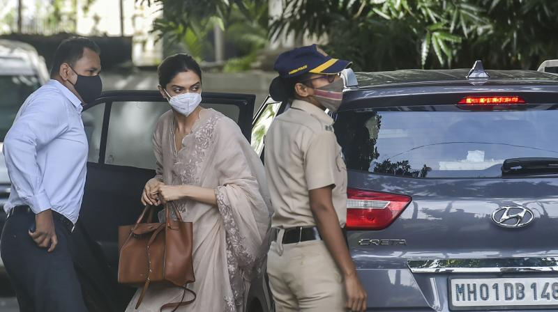 Actress Deepika Padukone arrives for the interrogation. (PTI)