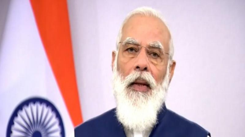 Modi at the virtual UNGA meet. (ANI)