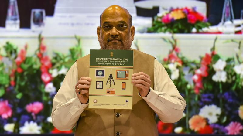 Union Home Minister Amit Shah at the 17th Formation Day celebrations of the National Disaster Management Authority (NDMA) in New Delhi, Tuesday, Sept. 28, 2021. (PTI /Atul Yadav)