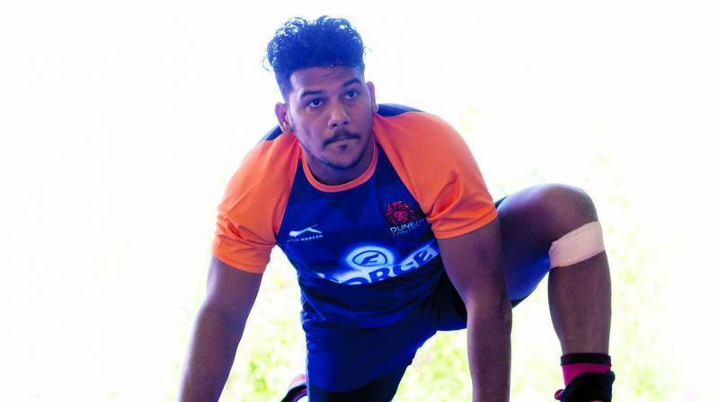 Puneri Paltan defender Girish Ernak during practice sessions.