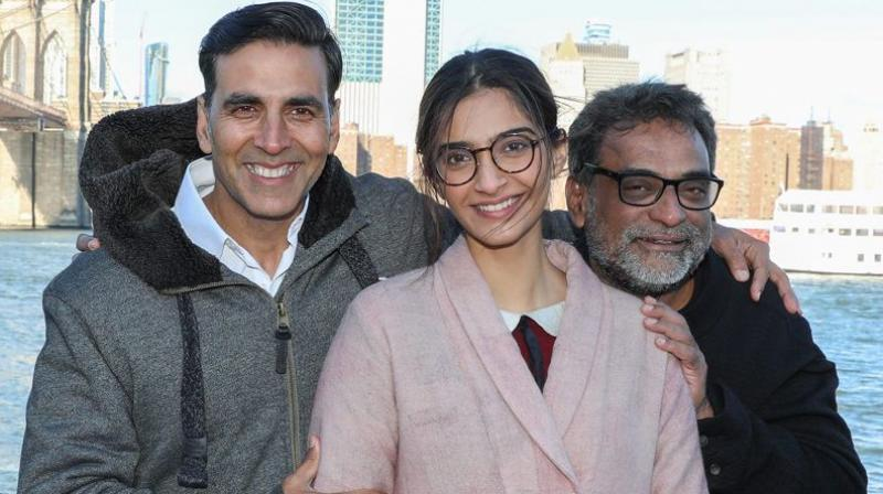 Akshay Kumar, Sonam Kapoor and R. Balki when promoting 'Padman'. (Photo: Twitter)