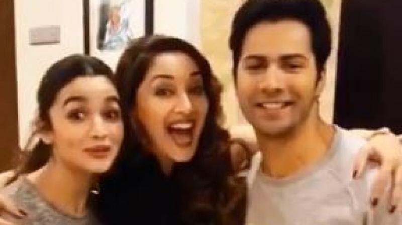 Alia Bhatt, Madhuri Dixit and Varun Dhawan in a video taken during 'Badrinath Ki Dulhania' promotions. (Photo: Twitter)