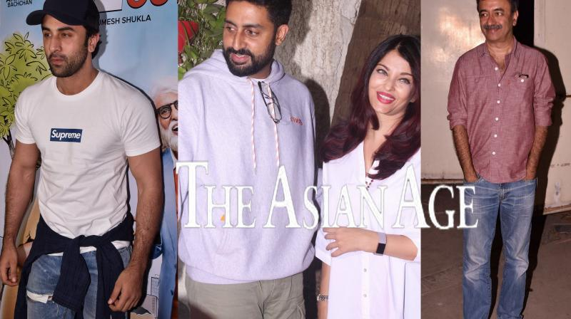 Ranbir Kapoor, Aishwarya-Abhishek Bachchan attend special screening of Amitabh Bachchan, Rishi Kapoor starrer '102 Not Out'. Filmmaker Rajkumar Hirani, R Balki and other B-town celebs were also present at the screening last night. (Photos: Viral Bhayani)