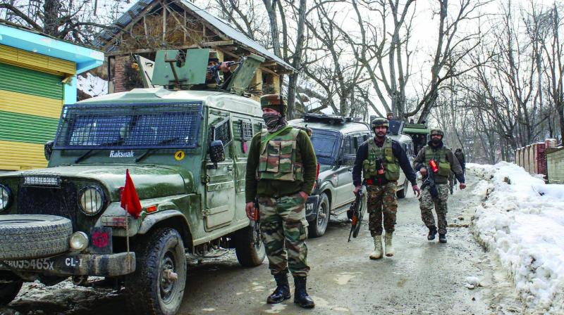 Army soldiers at Wani in Shopian district of south Kashmir during an encounter in which top three miltant commanders were killed on Monday. (Photo: PTI )