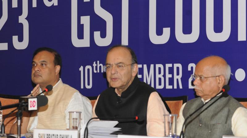 Finance Minister Arun Jaitley addresses the media after 23rd GST Council Meet in Guwahati, Assam. (Photo: PIB)