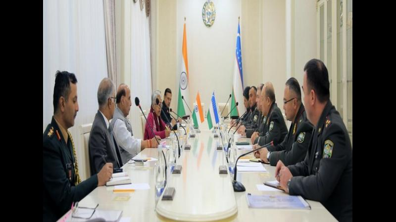 The release said the defence ministers agreed that the two sides would continue to work together to further raise their level of engagement in the defence sphere in keeping with strategic partnership between India and Uzbekistan. (Photo: ANI)