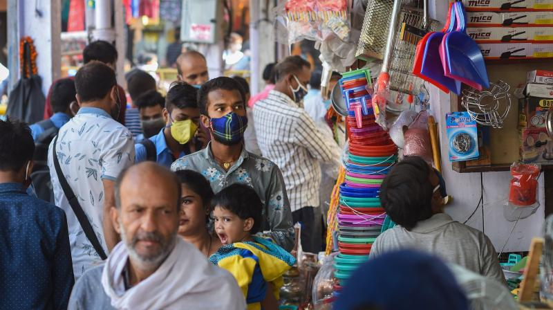 Crowded Chandni Chowk market during festive season, amid the ongoing coronavirus pandemic, in New Delhi, Monday, Oct. 19, 2020. (PTI Photo)