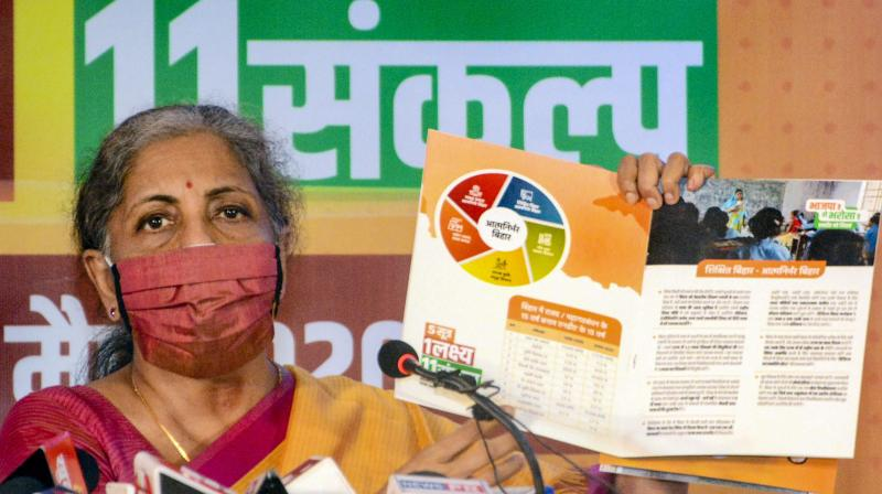 Union Finance Minister Nirmala Sitharaman addresses a press conference, ahead of the Bihar Assembly Elections, in Patna, Thursday, Oct. 22, 2020. (PTI Photo)
