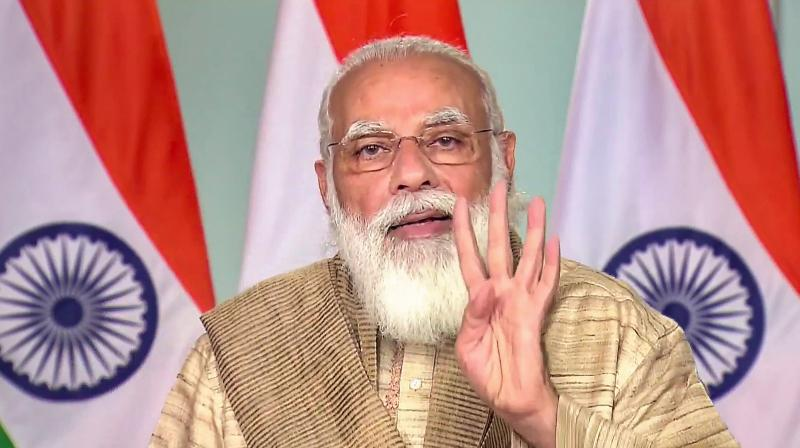 New Delhi: Prime Minister Narendra Modi addresses the people of West Bengal on the occasion of Durga Puja, via video conferencing, in New Delhi, Thursday, Oct 22, 2020 (PTI Photo)