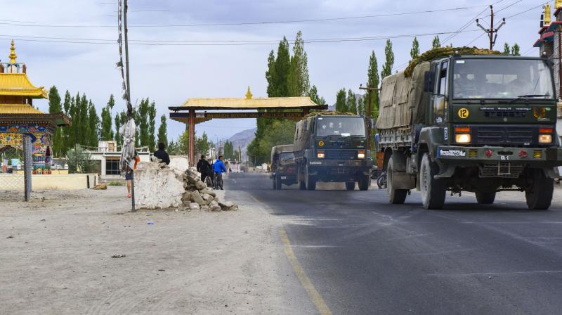 An army truck moves towards LAC, amid India-China border dispute in eastern Ladakh, in Leh. PTI