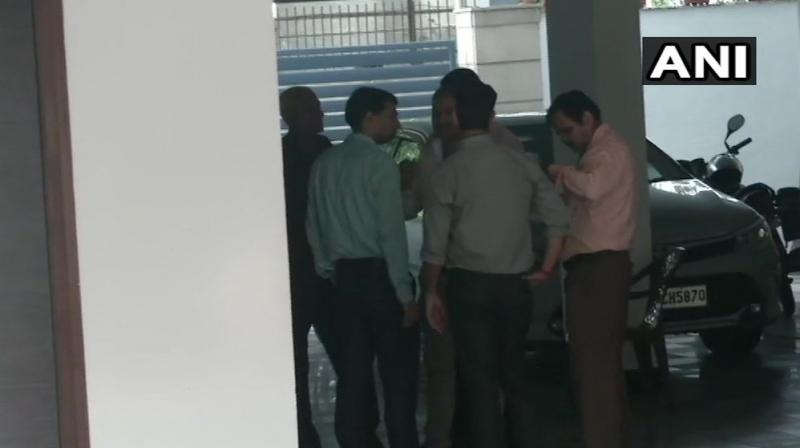 Earlier, around midnight, the CBI pasted a notice outside his home asking him to appear before the Investigation Officer within 2 hours. (Photo: Twitter   ANI)