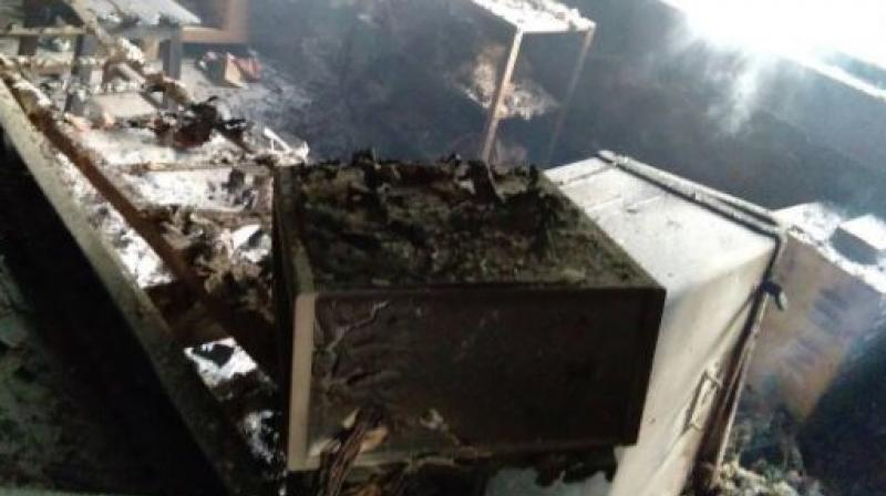 Naxals torched a signal set and communication system,and damaged engine of a goods train,at Dumri Bihar railway station in Bokaro. (Photo: ANI | Twitter)