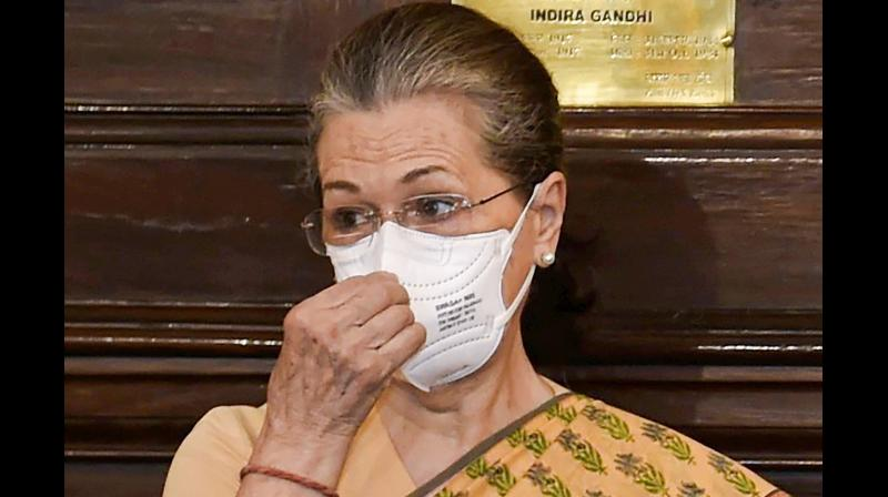 Congress Interim President Sonia Gandhi after paying tribute to former prime minister Rajiv Gandhi on his birth anniversary, at Parliament House in New Delhi, Friday, Aug 20, 2021. (PTI Photo)