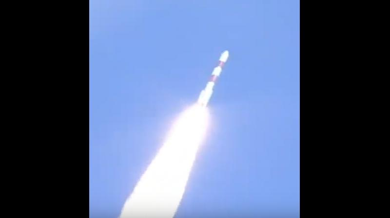 The 44.4 metre tall PSLV lifted off majestically with a thunderous sound, leaving plumes of smoke from the first launch pad at the spaceport here at 3.25 pm. (Photo: Twitter | @isro)