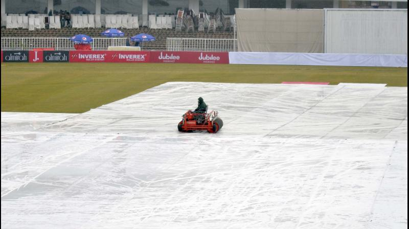 Play was called off on Day four of the first Test match between Sri Lanka and Pakistan due to wet outfield at the Rawalpindi Cricket Stadium here on Saturday. (Photo: Twitter/ Pakistan Cricket)
