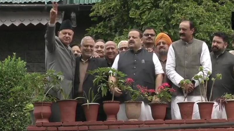 The delegation was allowed by the Jammu and Kashmir administration to meet the father-son duo yesterday. (Photo: ANI)