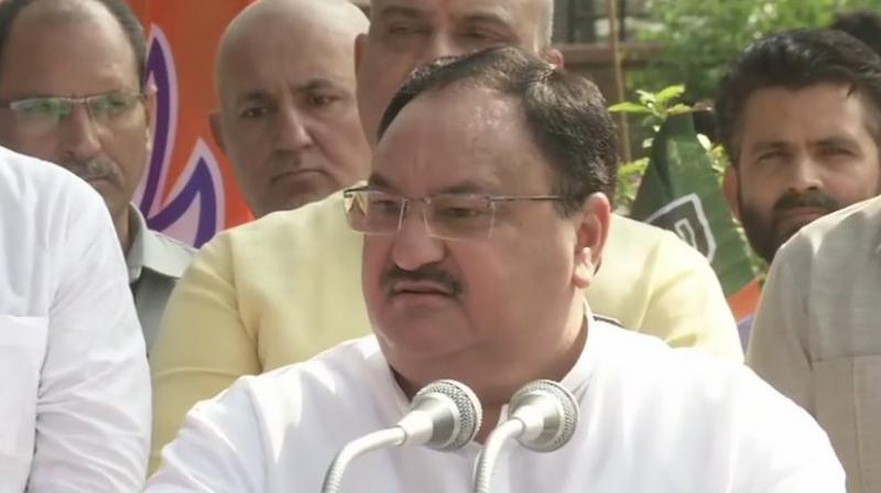 Nadda along with Home Minister Amit Shah and scores of party cadre paid tribute to Dr Shyama Prasad Mukherjee on his death anniversary at BJP Headquarters in the wee hours of Sunday. (Photo: ANI)