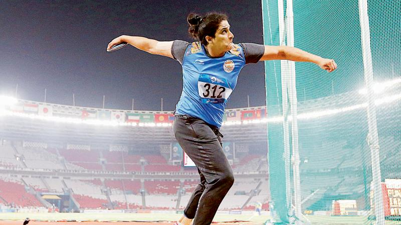 Seema Punia competes in the woman's discus final at the 18th Asian Games in Jakarta, Indonesia in 2018. (Photo: AP)