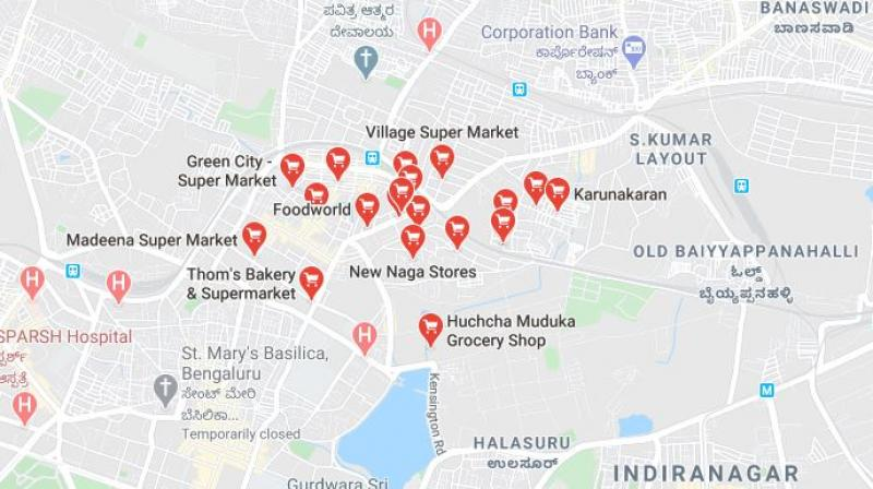 A Google map showing the location of grocery stores in a Bengaluru locality