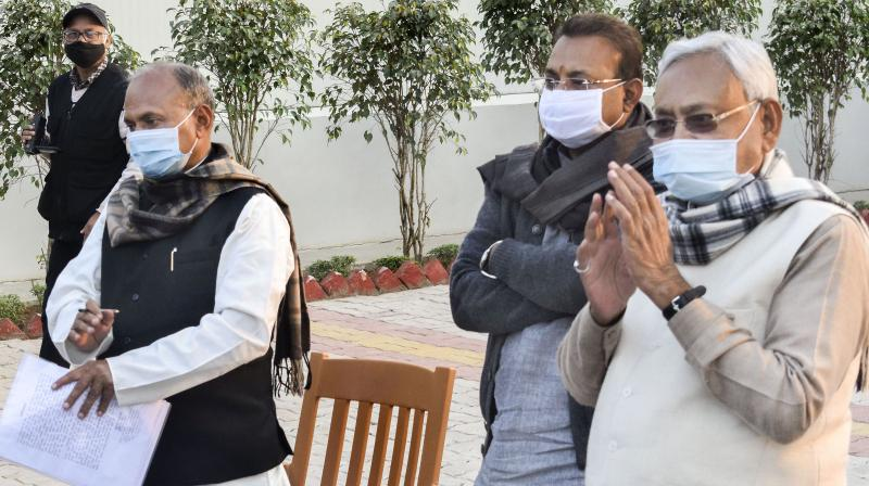 """""""I had no desire to become the chief minister. I accepted the offer due to the pressure, but I had earlier said the BJP could make its chief minister as the people's mandate was clear"""", Nitish Kumar said (Image:PTI)"""