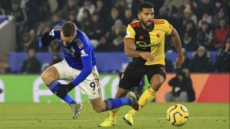 Leicester City forward Jamie Vardy struck for the seventh Premier League game in a row to help his rampant side to a 2-0 home win over basement club Watford on Wednesday, a seventh consecutive league victory that leaves them second in the table. (Photo:AP)