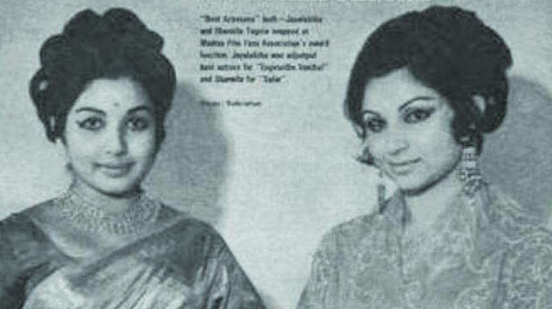J Jayalalithaa and Sharmila Tagore