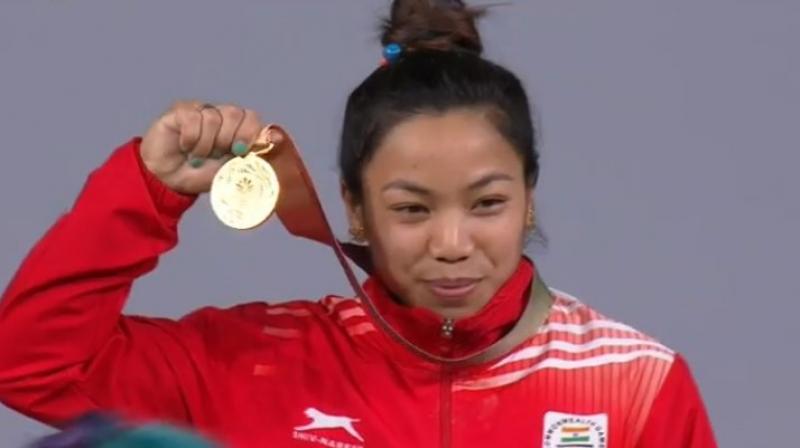 Mirabai Chanu broke Commonwealth Games record 3 times in 6 minutes. (Photo:Twitter / IOA)