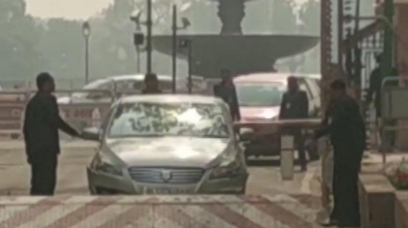 Parliament security personnel are investigating the cause of the incident. (Photo: ANI | Twitter)