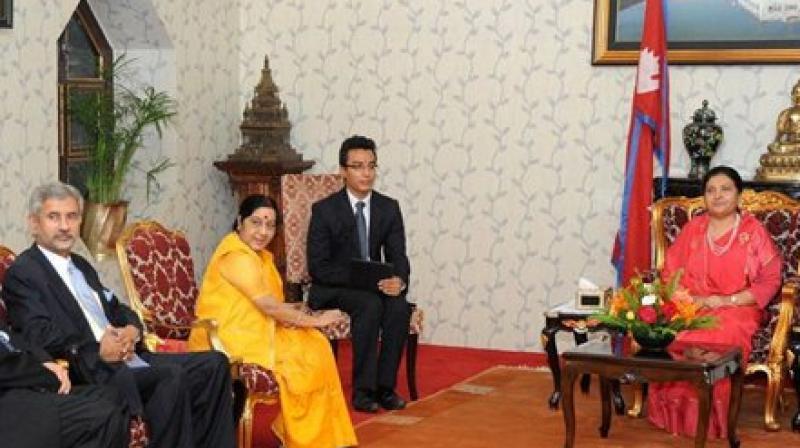 External Affairs Minister Sushma Swaraj meets with Nepal's President Bidhya Devi Bhandari in Kathmandu. (Photo: PTI)