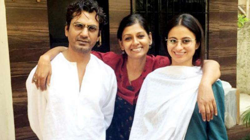 Nandita Das with her 'Manto' actors Nawazuddin Siddiqui and Rasika Duggal.