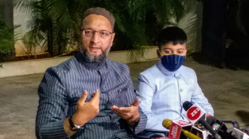 AIMIM President and Hyderabad MP Asaduddin Owaisi addresses media persons on Bihar election results at his residence in Hyderabad. (PTI)