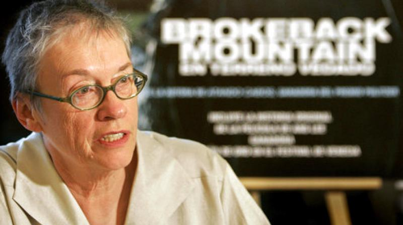 """In this Jan. 26, 2006, file photo, writer Annie Proulx speaks at a news conference in Madrid. Proulx, whose works range from """"Brokeback Mountain"""" to the Pulitzer Prize-winning novel """"The Shipping News,"""" will receive a National Book Award for lifetime achievement. (Photo: AP)"""