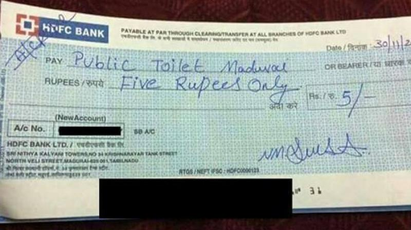 The cheque had 'Public Toilet Madurai' written on it (Photo: Facebook)