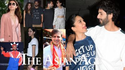 Bollywood celebrities like Sonam Kapoor-Anand Ahuja, Farhan Akhtar-Shibani Dandekar, Shahid Kapoor-Kiara Advani, Varun Dhawan, Alia Bhatt and others spotted in the city. (Photos: Viral Bhayani)