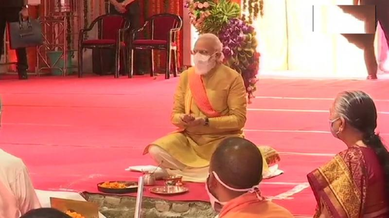 PM Narendra Modi in the Bhoomi Pujan (ANI)