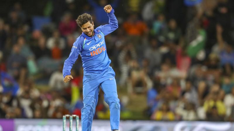 Kuldeep claimed consecutive wickets of Henry Nicholls and Ish Sodhi in the 31st over, as he polished off the New Zealand innings in a burst of three overs. (Photo: AP)