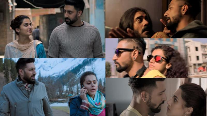 Some stills from Abhishek Bachchan, Taapsee Pannu and Vicky Kaushal starrer 'Manmarziyaan'.